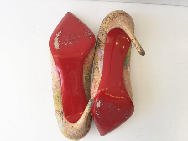 Christian Louboutin Size 40 Pigalle Follies 100 Cork Blooming Pumps