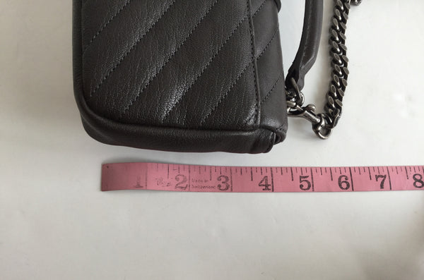 Yves Saint Laurent Grey College Monogram Matelassé Chevron Leather Chain Shoulder Bag