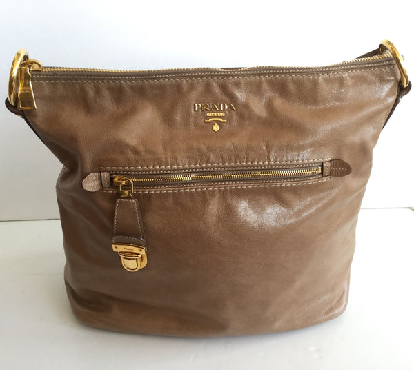 Prada Tan Vitello Shine Hobo Shoulder Bag w/ Gold Hardware