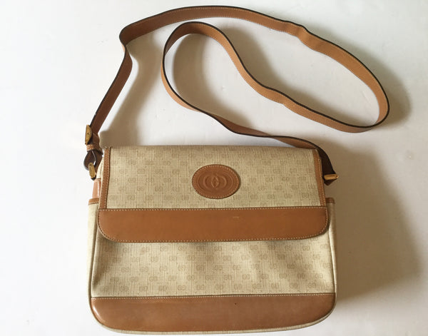 Gucci Vintage Tan Monogram Canvas Crossbody Bag