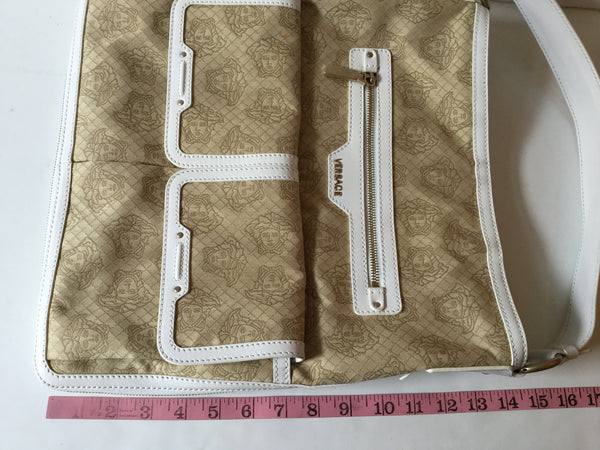 Versace White & Tan Medusa Logo Shoulder Bag