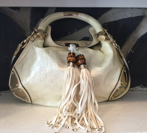 Gucci White Indy Bamboo Tassel Hobo Bag w/ Shoulder Strap