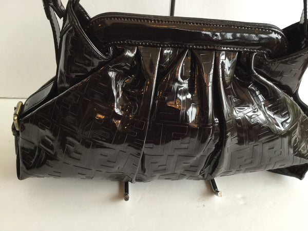 Fendi Brown Patent Leather Monogram Shoulder Bag