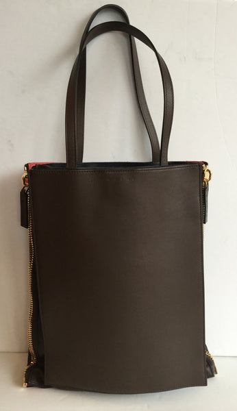 Marni Brown & Orange Zip Up Side Large Tote w/ Gold Hardware