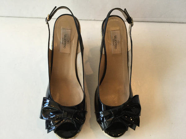 Valentino Size 40 Black Bow Espadrille Wedge