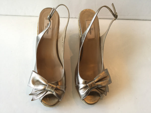 Valentino Size 40 Metallic Bow Espadrille Wedge