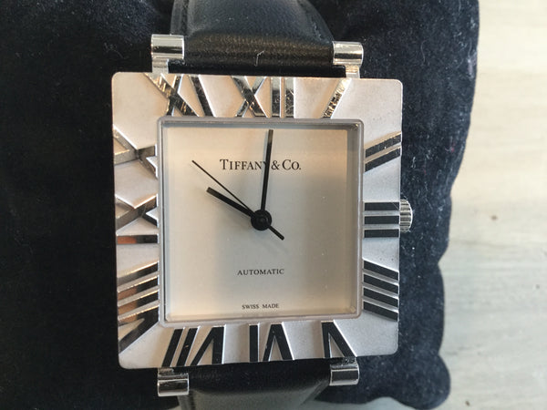 Tiffany & Co Sterling Silver 925* Atlas Roman Bezel Quartz Square Watch w/ Black Strap
