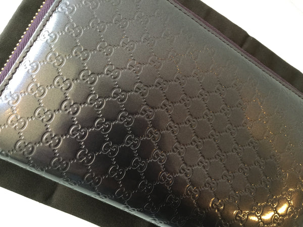 Gucci Purple Microguccissima Patent Leather Travel Wallet