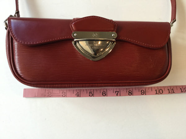 Louis Vuitton Red Epi Leather Montaigne Pochette Clutch Shoulder Bag