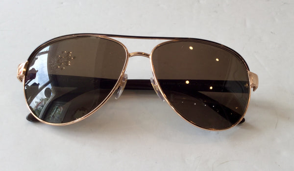 Gucci GG Boaed Gold Havana Brown Aviator Sunglasses
