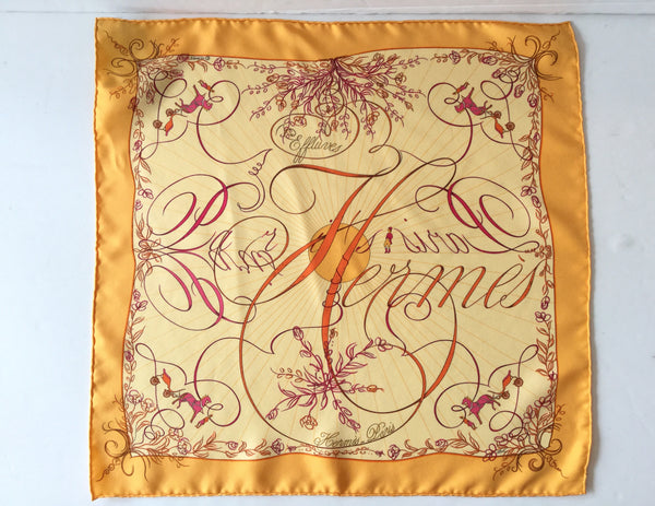 Hermes Yellow, Orange & Pink 100% Silk Pocket Square Scarf