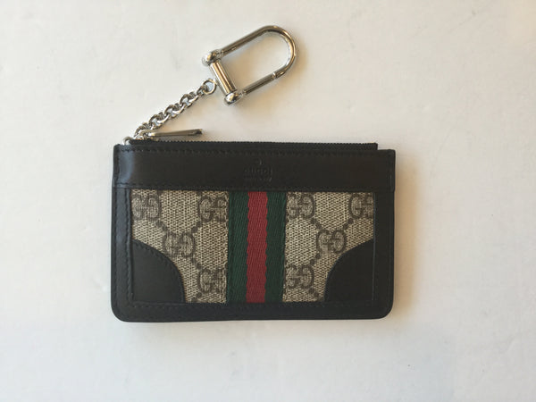 Gucci Monogram & Black Leather Key Case w/ Red & Green Stripe & Chain