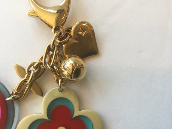 Louis Vuitton Gold Key Chain w/ Floral Charms