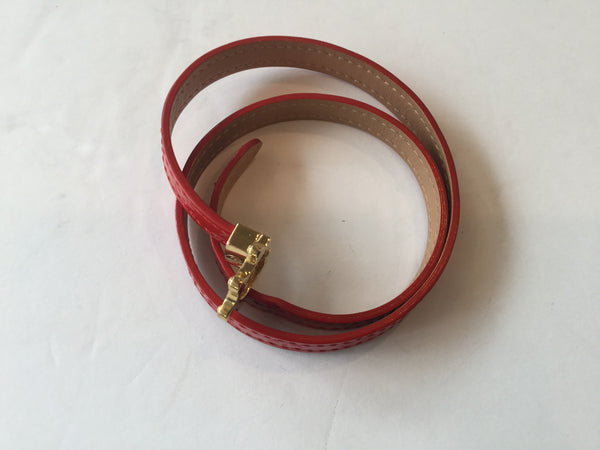 Louis Vuitton Red Monogram Vernis Leather Triple Tour Bracelet