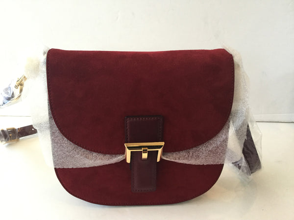 Marc Jacobs NS Decoy Suede Crossbody Bag in Bordeaux & Gold
