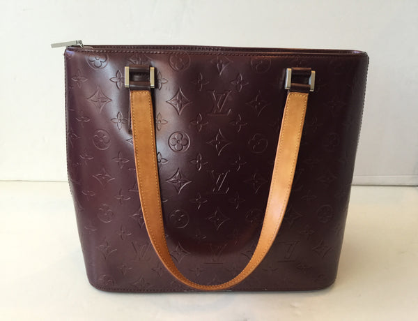 Louis Vuitton Stockton Monogram Mat Burgudy/Violet Tote with Zipper