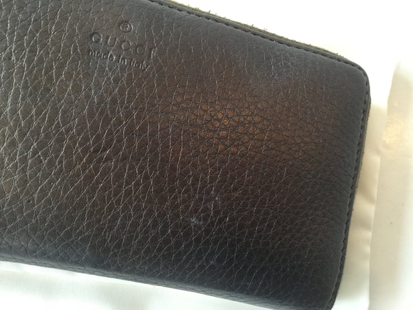 Gucci Metallic Bronze Leather Bamboo Handle Zip Around Wallet