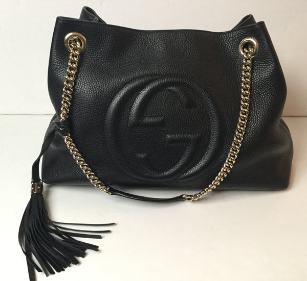 Gucci Black Soho Shoulder Bag w/ Gold Hardware & Tassel