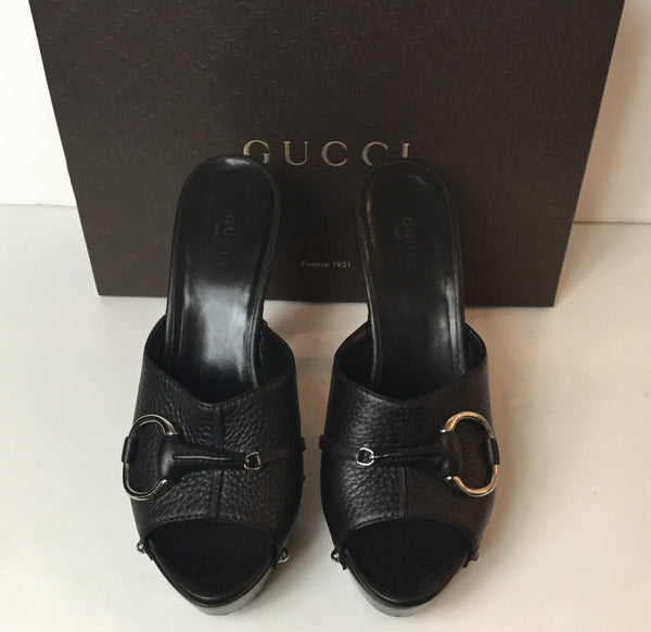 Gucci Size 8 (38) Black Studded Wooden Pumps w/ Horsebit Buckle