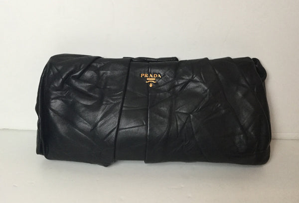 Prada Black Pleated Leather Clutch Bag w/ Gold Hardware