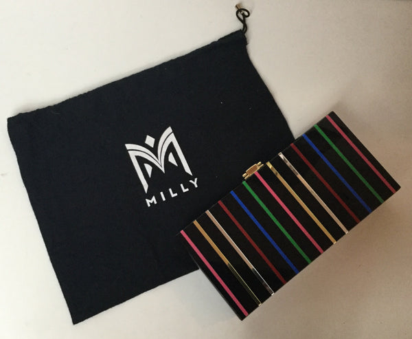 Milly Black Multicolored Clutch w/ Rhinestones