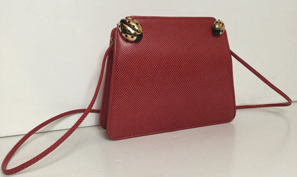 Judith Leiber Red Pebbled Leather Shoulder Bag w/ Lady Bug Closure