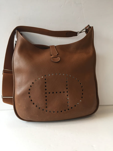 Hermes Brown Evelyn GM III Crossbody Bag