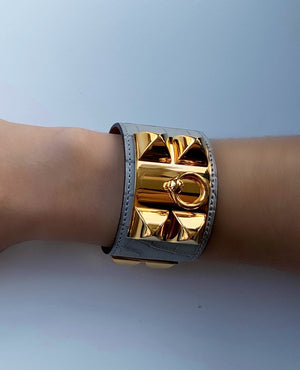 Hermès Alligator Grey with Gold Collier De Chien Cuff