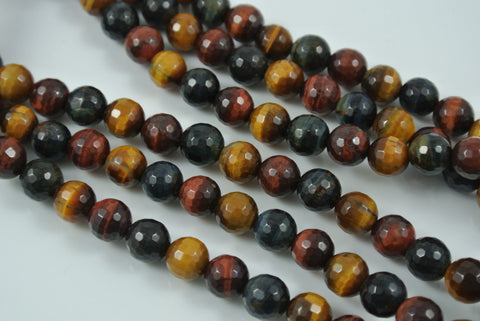 Tiger Eye Multi Color Round Faceted 8mm