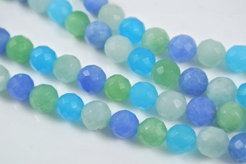 Quartz Rainbow Blue Round Faceted 8mm