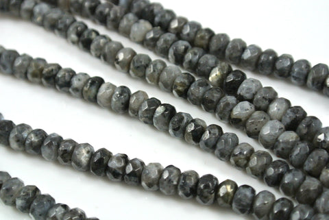 Black Labradorite Rondelle Faceted 4x6mm