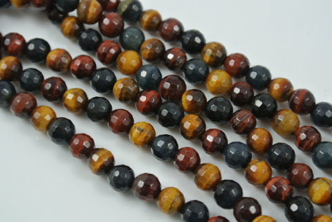 Tiger Eye Multi Color Round Faceted 6mm
