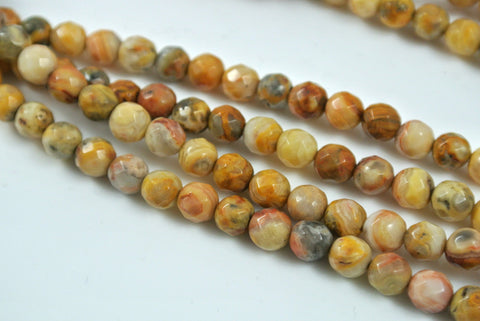 Crazy Lace Agate Round Faceted 6mm