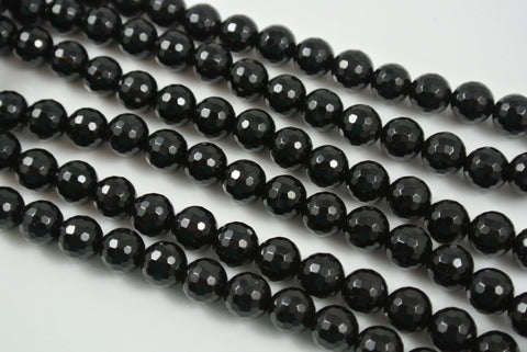 Onyx Black Round Faceted 8mm