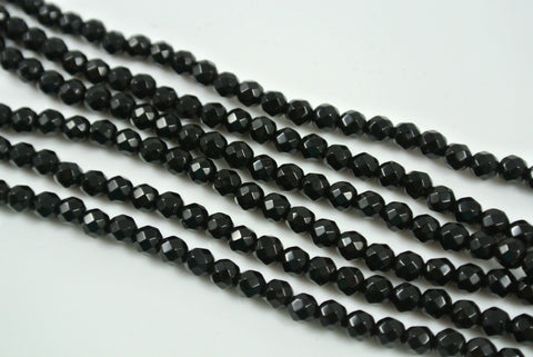 Onyx Black Round Faceted 4mm