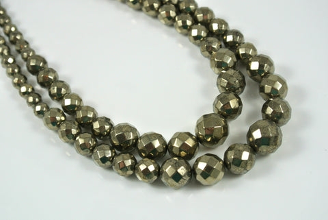 Pyrite Round Faceted Graduated 4-12mm