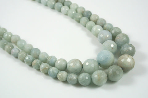 Aquamarine Round Faceted Graduated 7-16mm