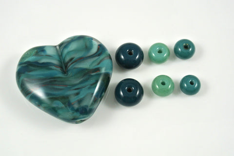 Whirled Peas Lampwork Beads Blue Heart Set