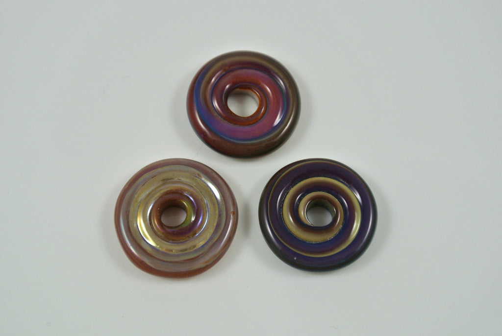 Whirled Peas Lampwork Beads Disks Set of 3