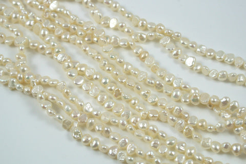 Freshwater Pearl White Small Baroque Nugget 4-5mm