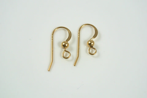 Gold-Filled Earwires Loop Flat With Ball 5 Pairs