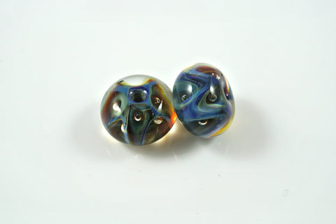 Whirled Peas Lampwork Beads Pair Blue & Pale Green Zig Zags With Bubbles