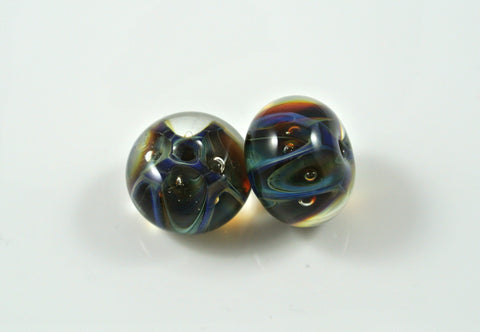 Whirled Peas Lampwork Beads Pair Dark Blue & Green Zig Zags With Bubbles