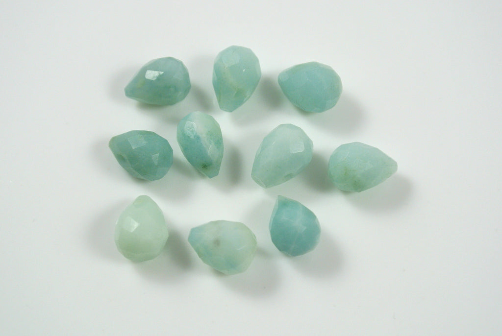 Amazonite Faceted Drop Top Drilled 6x9mm 10 Pieces