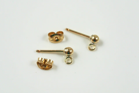 Gold-Filled Earwires Ball Post With Backs 5 Pairs