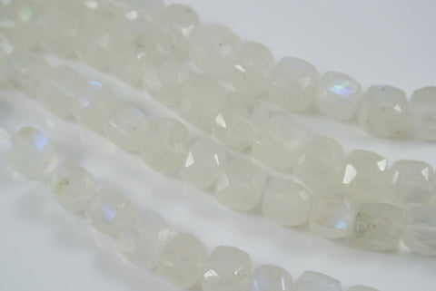 Rainbow Moonstone Faceted Cube 6-7mm 5 Pieces