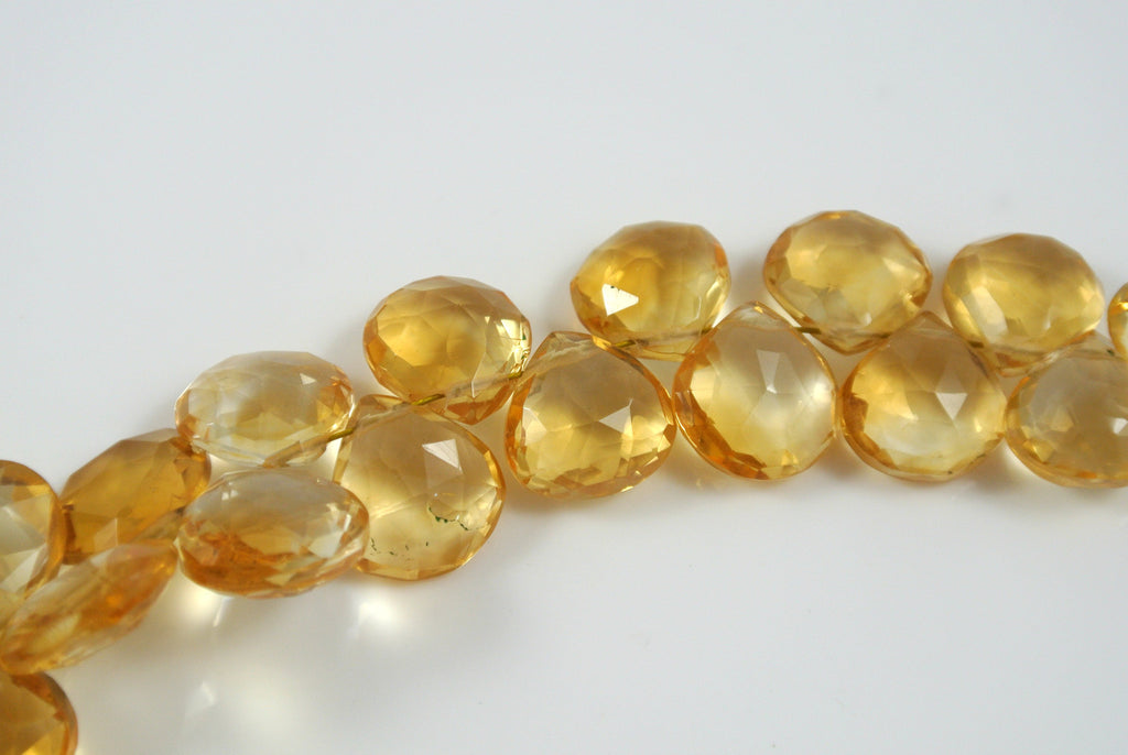 Citrine Faceted Drop Top Drilled 8x8mm-11x10mm 5 Pieces