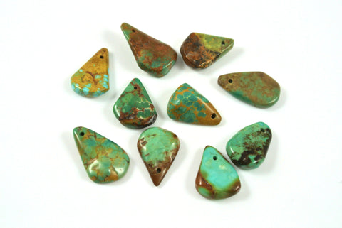 Turquoise Flat Drop 9x12-10x15mm 10 Pieces