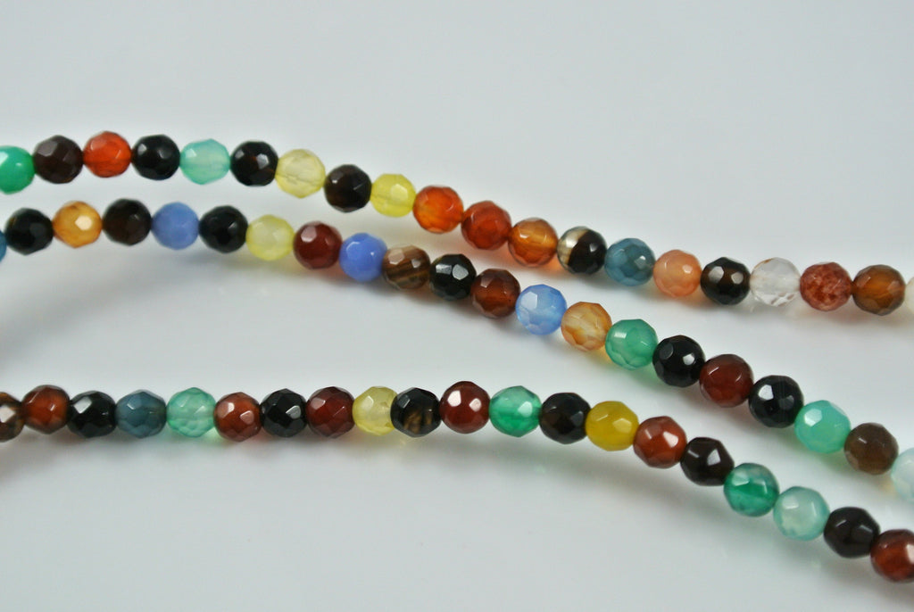 Agate Multi Color Round Faceted 4mm