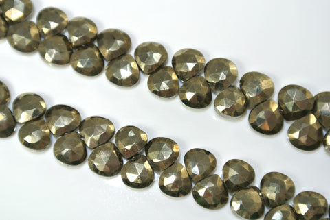 Pyrite Faceted Briolette Drop 6x6mm 10 Pieces